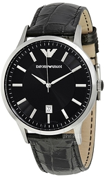 Emporio Armani Dress Sort/Lær Ø43 mm AR2411
