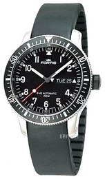 Fortis B-42 Official Cosmonauts Sort/Gummi Ø42 mm 647.10.11.K