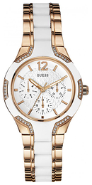Guess Sporty Hvit/Rose-gulltonet stål Ø36 mm W0556L3