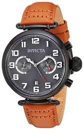 Invicta Aviator Grå/Lær Ø46 mm 22983