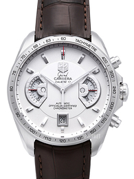 TAG Heuer Grand Carrera Calibre 17 Automatic Chronograph Hvit/Lær Ø43 mm CAV511B.FC6231