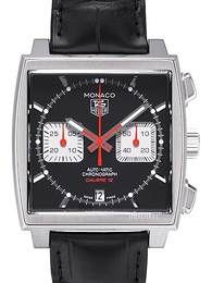 TAG Heuer Monaco Calibre 12 Automatic Chronograph Sort/Lær 39x39 mm CAW2114.FC6177