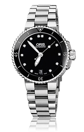 Oris Divers Aquis Date Diamonds Sort/Stål Ø36 mm 01 733 7652 4194-07 8 18 01P