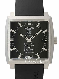 TAG Heuer Monaco Calibre 6 Automatic Sort/Gummi 37x37 mm WW2110.FT6005